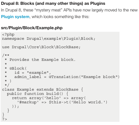 Drupal 8: Blocks plugin
