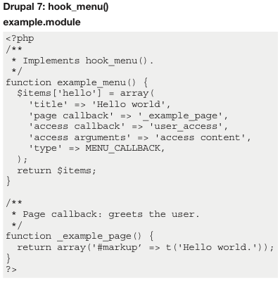 drupal 7 menu block hook Hooks are php functions that are created for each module when system events happen, eg page load or user login in drupal 7 custom pages are created using hook_menu.